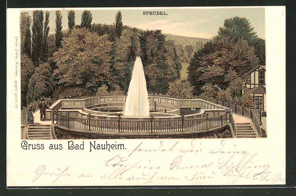Lithographie Bad Nauheim, Blick auf den Sprudel