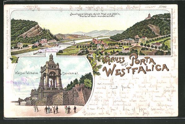 Lithographie Porta Westfalica, Kaiser Wilhelm-Denkmal, Orts-Panorama
