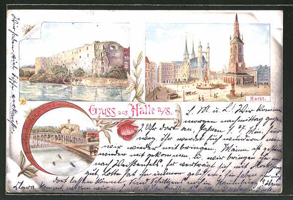 Künstler-AK Halle a. S., Moritzburg, Markt, Ruine Giebichenstein