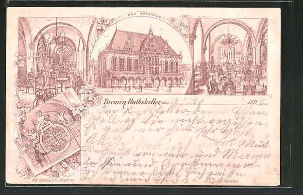 Lithographie Bremen, Gasthof Rathskeller im Rathaus