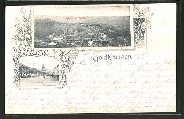 AK Goldkronach, Marktplatz, Blick auf die Ortschaft