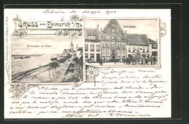 AK Emmerich a. Rh., Alter Markt mit Hotel Holländischer Hof, Promenade am Rhein