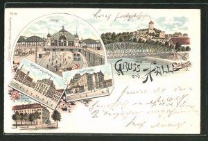 Lithographie Halle a. Saale, Bahnhof, Rathaus mit Rathskeller & Frankestiftung