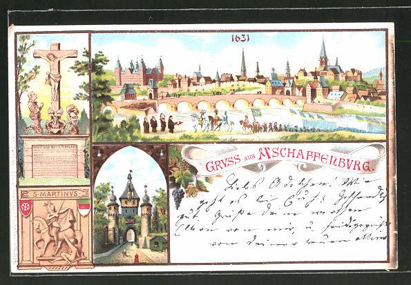 Lithographie Aschaffenburg, Historische Gesamtansicht v. 1631, S. Martinus & Jesuskreuz