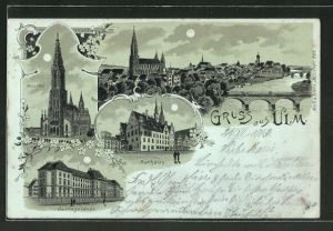 Mondschein-Lithographie Ulm, Justizgebäude, Münster, Rathaus, Panorama