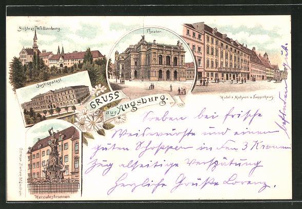 Lithographie Augsburg, Herculesbrunnen, Justizpalast, Schloss Wöllenburg