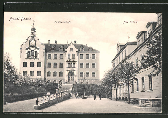 AK Freital-Döhlen, Blick auf Schillerschule und Alte Schule
