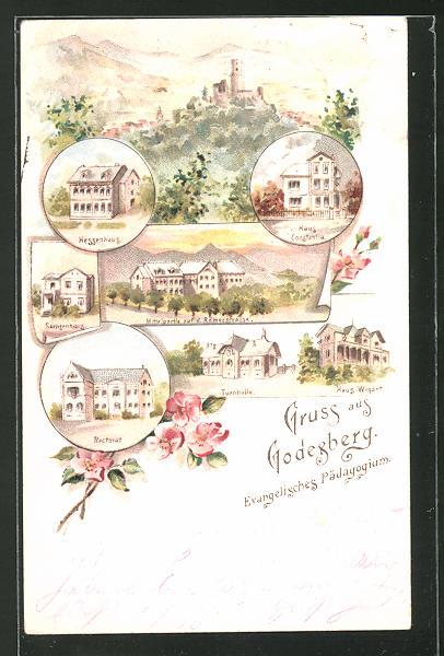Lithographie Bad Godesberg, Evangelisches Pädagogium, Hessenhaus, Rectorat, Turnhalle