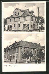 AK Neulussheim i. Baden, Ansicht vom Gasthaus zum Adler, Lebensmittelhaus