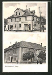 AK Neulussheim i. Baden, Ansicht vom Gasthaus zum Adler, Blick auf das Lebensmittelhaus