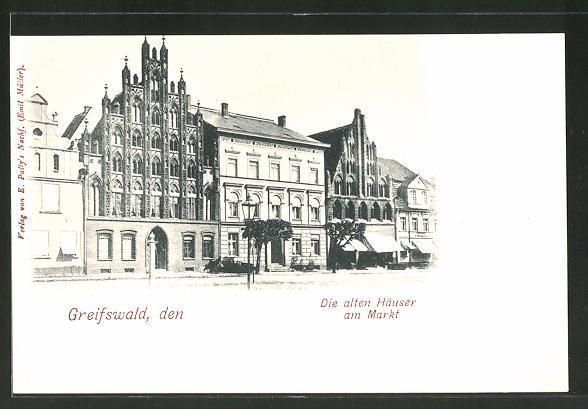 AK Greifswald, alte Häuser am Markt