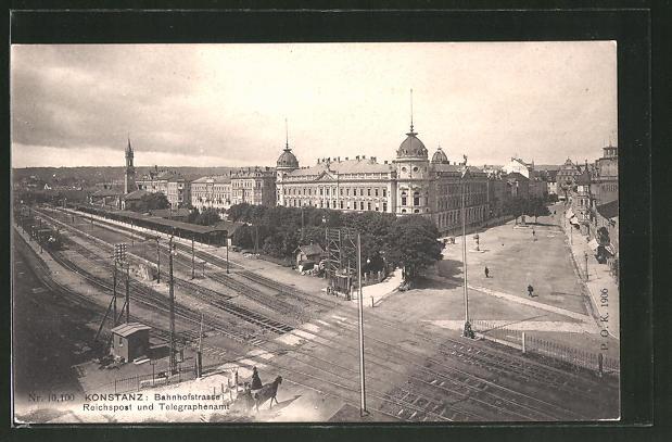 AK Konstanz, Bahnhofstrasse mit Reichspost und Telegraphenamt