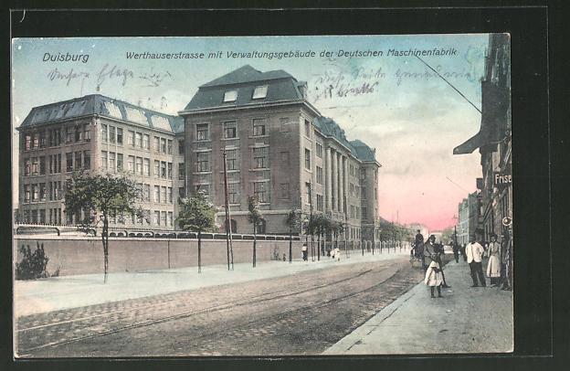 AK Duisburg, Werthauserstrasse mit Verwaltungsgebäude der Deutschen Maschinenfabrik