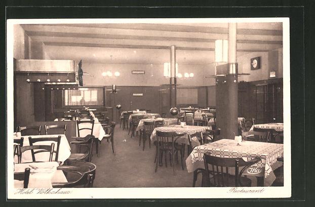AK Düsseldorf, Hotel Volkshaus-Restaurant in der Flingerstr. 11-17, Innenansicht