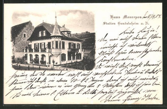 AK Gundelsheim a. N., Blick zum Gasthaus