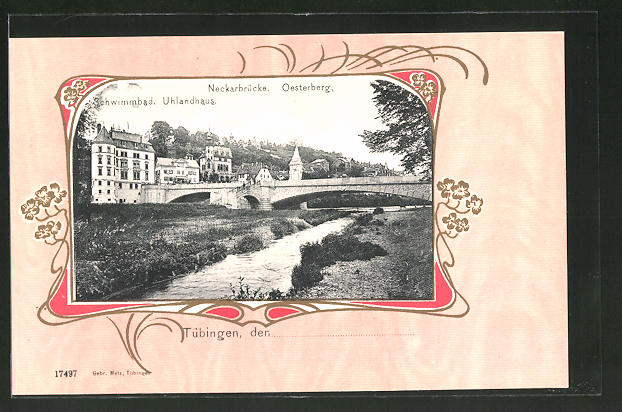 Passepartout-AK Tübingen, Neckarbrücke, Oesterberg, Schwimmbad, Uhlandhaus