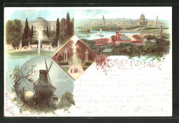 Lithographie Potsdam, Panorama, Schloss Sanssouci, Historische Mühle