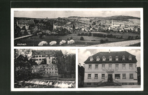 AK Aschach, Ortsansicht aus der Vogelschau, Gasthof zur Krone