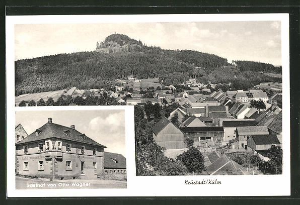 AK Neustadt / Kulm, Ortsansicht aus der Vogelschau, Gasthof zum goldenen Löwen