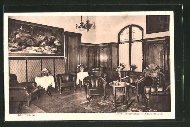AK Nürnberg, Hotel Deutscher Kaiser, Königstrasse 55, Blick in die Halle