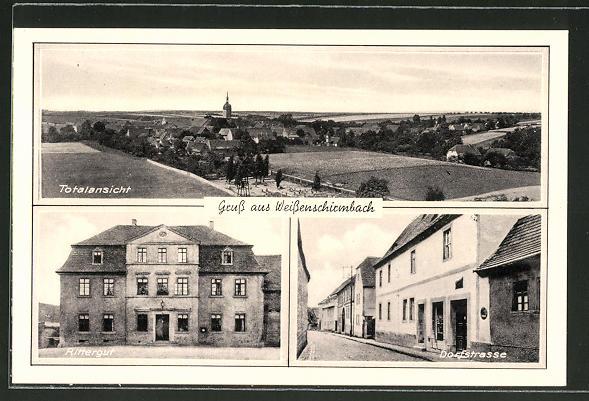 AK Weissenschirmbach, Totalansicht, Rittergut, Dorfstrasse