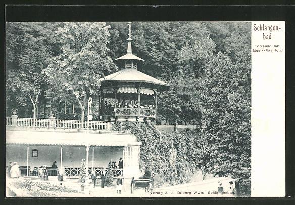 AK Schlangenbad, Terrasse mit Musik-Pavillon