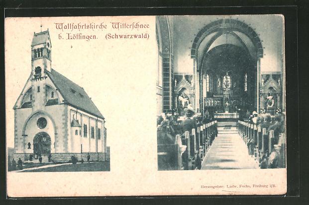 AK Löffingen i. Schwarzwald, Wallfahrtskirche Witterschnee mit Innenansicht