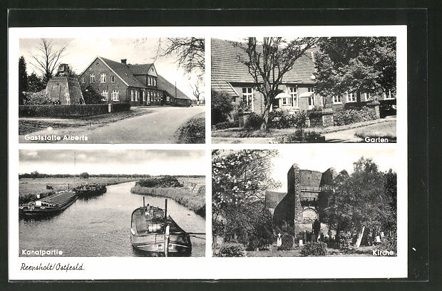 AK Reepsholt / Ostfrsld., Gaststätte Alberts m. Garten, Kirche & Kanalpartie