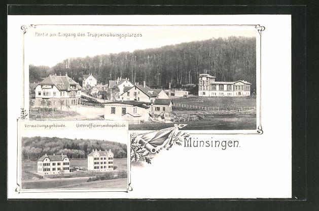 AK Münsingen, Partie am Eingang des Truppenübungplatzes, Verwaltungsgebäude & Unteroffizierswohngebäude