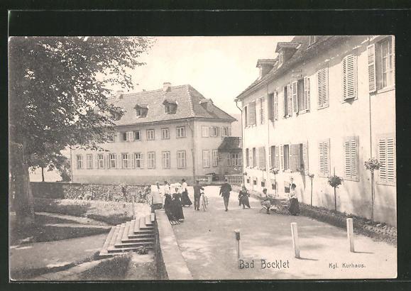 AK Bad Bocklet, Promenade am Kgl. Kurhaus