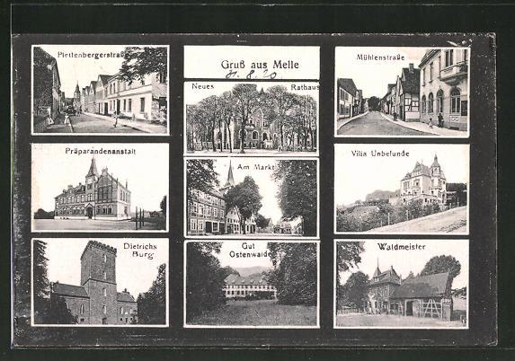 AK Melle, Präparandenanstalt, Gut Ostenwalde, Waldmeister & Villa Unbefunde