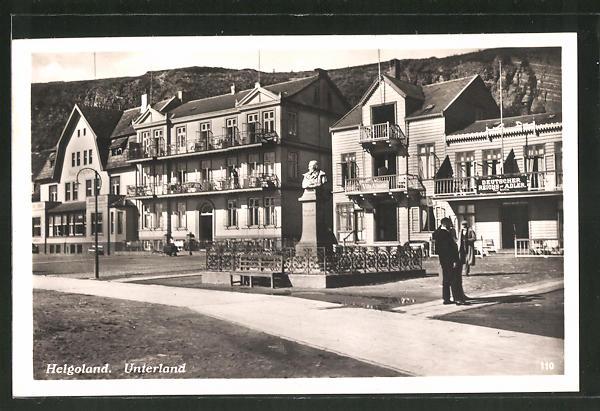 AK Helgoland, Partie mit Villa Atlantic und Deutscher Reichs-Adler