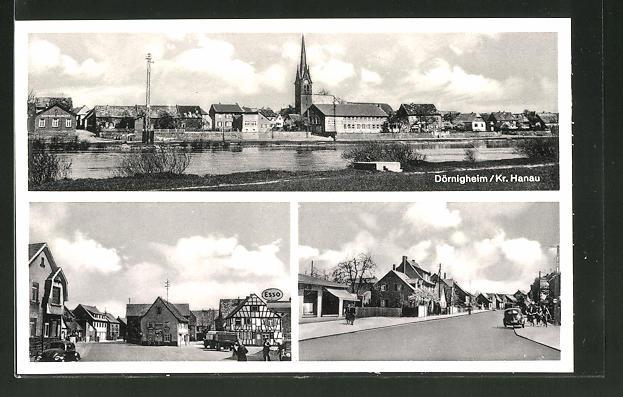 AK Dörnigheim, Strassenansichten, Tankstelle Esso, Panorama