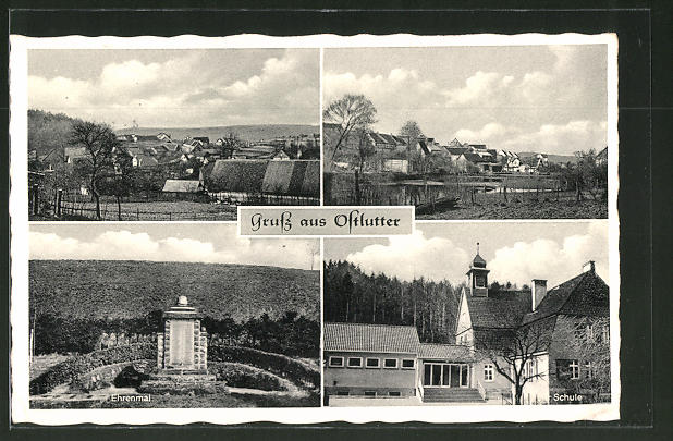 AK Ostlutter, Ehrenmal, Schule, Ortsansichten