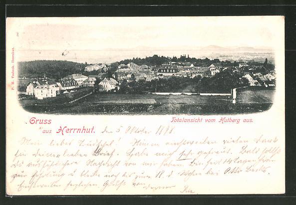 AK Herrnhut, Ortspanorama vom Hutberg aus gesehen