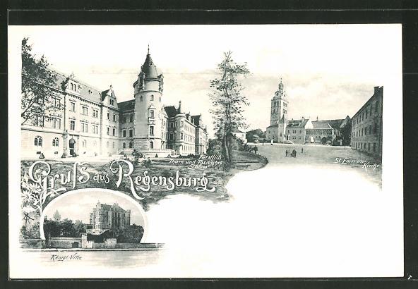 AK Regensburg, Königl. Villa, St. Emeran-Kirche, Schloss