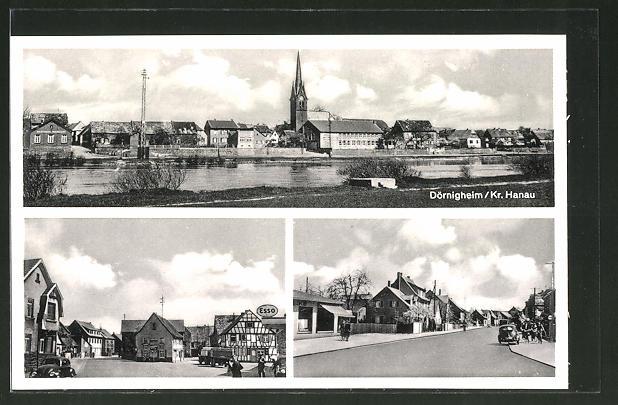 AK Dörnigheim / Hanau, Gesamtansicht & Strassenpartie mit Esso-Tankstelle