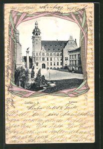 Passepartout-AK Cöthen i. A., Blick zum Rathaus