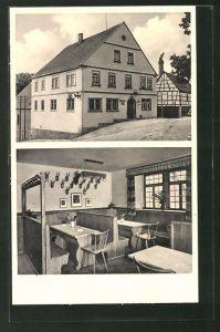 AK Gnodstadt, Brauerei-Gaststätte Düll, Aussen- und Innenansicht