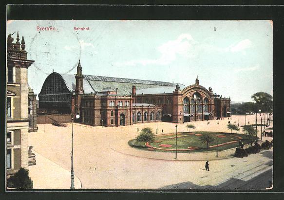 AK Bremen, Bahnhof mit Vorplatz aus der Vogelschau