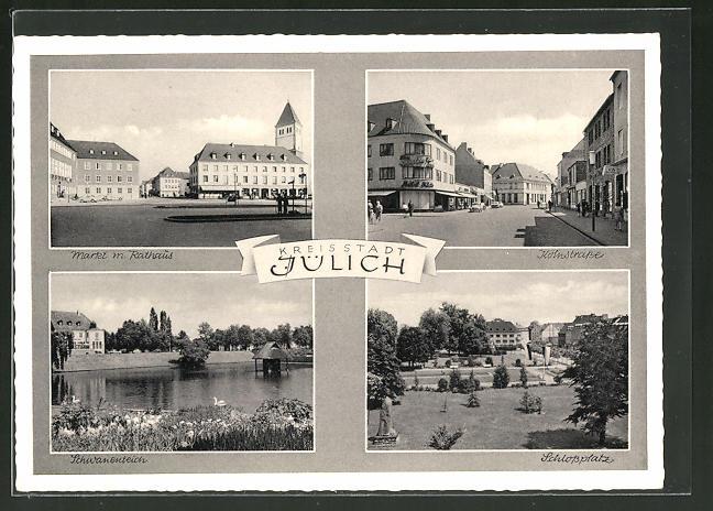 AK Jülich, Markt mit Rathaus, Kolnstrasse, Schlossplatz