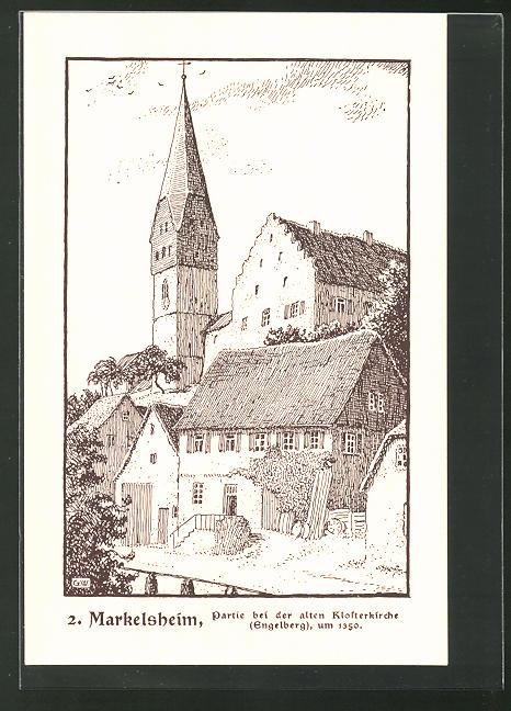 Künstler-AK Markelsheim, Partie an der alten Klosterkirche