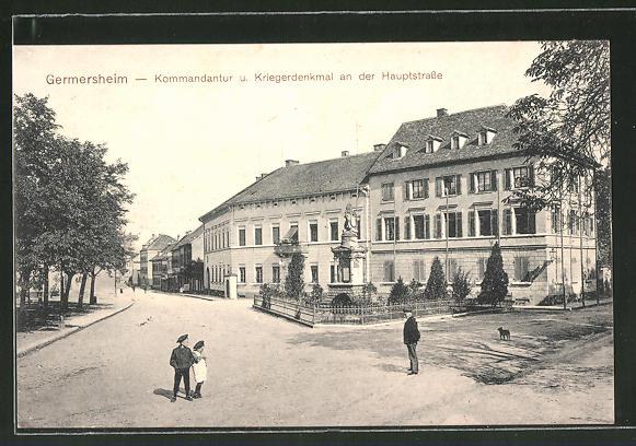 AK Germersheim, Kommandantur u. Kriegerdenkmal an der Hauptstrasse