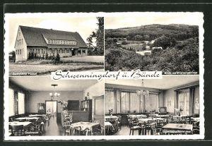 AK Schwenningdorf, Gasthaus Hassel, Gastraum, Gesellschaftszimmer, Blick ins Wiehengebirge
