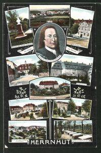 AK Herrnhut, Totalansicht, Ludwig Graf von Zinzendorf, Herrschaftshaus, Friedhof & Brüderhaus
