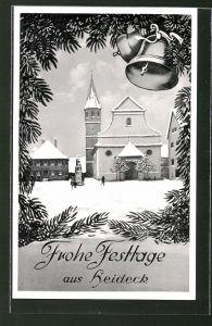 AK Heideck, Winterblick mit Kirche und Glocken