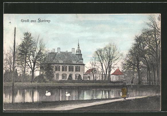 AK Gartrop, Ortspartie am Teich