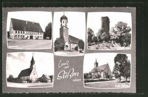 AK Süssen / Württ., Rathaus, Ev. Kirche, Ruine Staufeneck, Alte Kirche, Kath. Kirche