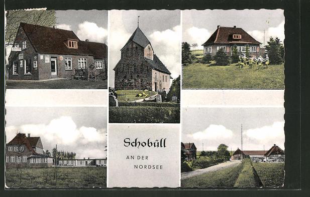 AK Schobüll / Nordsee, Ortsansicht mit Kirche, Wegpartie & Geschäft