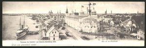 Klapp-AK Düsseldorf, Industrie & Gewerbe-Ausstellung 1902, Panorama, Blick von der Rheinbrücke